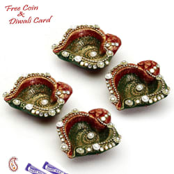Aapno Rajasthan Stone Studded Metallic Paint Diyas- Pack Of 4
