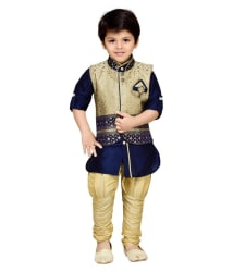 AJ Dezines Blue Silk Kurta with Waistcoat and Breeches
