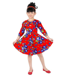 Ftcbazar Red Cotton Printed Frock for Girls