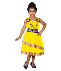 FTCBazar Yellow Net Frock for Girls
