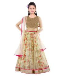 The fashion up cream Bhagalpuri lehenga choli with blouse