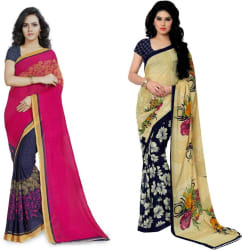 Anand Sarees Printed Fashion Georgette Saree (Pack of 2, Multicolor)