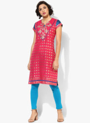 Henley Embroidered Neck Gold Embroidered Kurta With Cap Sleeves