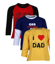 Goodway Multicolor 100% Cotton Pack of 3 T-Shirts For Boys