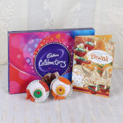 Giftacrossindia Cadbury Celebration Chocolate With Diwali Diya And Greeting Card