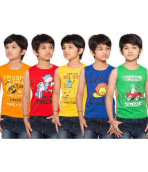 Maniac Pack of 5 Multicolour Sleeveless T-Shirts