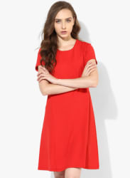 Red Coloured Solid Shift Dress