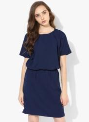 Blue Coloured Solid Shift Dress