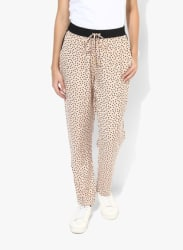 Beige Printed Regular Fit Coloured Pants