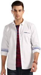 Harvard Men Solid Casual White Shirt