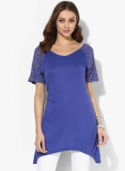 Blue Solid Tunic With Printed Short Sleeves