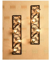 Hosley Set of 2 Decorative Black Metal Wall Sconce - Pack of 2