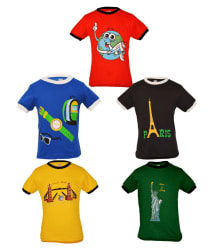 Gkidz Multicolour Cotton T Shirt For Boys - Pack of 5