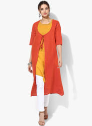 Yarn Dyed Kurta With Tie Up Jacket