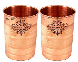 IndianArtVilla Copper Glass Tumbler, Serveware & Tableware (300 ml Each, Set Of 2)