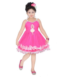 Lollipop Creations Pink Net Frock for Girls