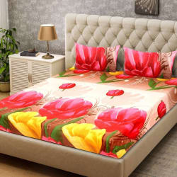 Supreme Home Collective 104 TC Microfiber Double Floral Bedsheet (1 Double Bedsheet, 2 Pillow Covers, Pink, Yellow)