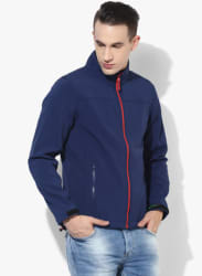 Navy Blue Solid Slim Fit Casual Jacket