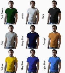 Details about COMBO of 2 Solid Basic T Shirt Cotton Unisex Black Blue Red Grey White Green