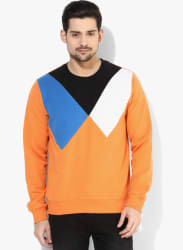 Orange Solid Sweatshirt