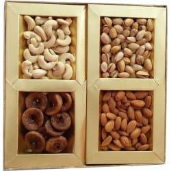 Candy House Diwali Celebration Gold Red 4 Part Dryfruit Box