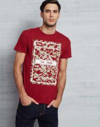 Metronaut Printed Men s Round Neck Maroon T-Shirt