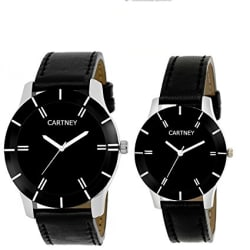 Cartney Combo of 2 Analogue Black Dial Mens and Womens Watches-Mw3321