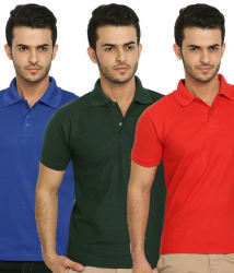 Lime Offers Combo of 3 Men s Polo T-Shirts, multicolor, m