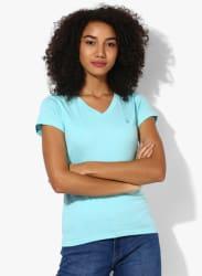 Aqua Blue Solid T Shirt