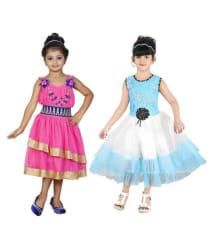 Nikunj Pink and Blue Net Partywear Frock- Pack of 2