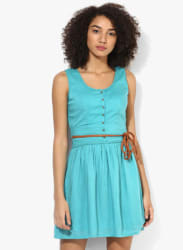 Aqua Blue Coloured Solid Skater Dress With Belt
