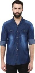 Urbano Fashion Men s Solid Casual Denim Blue Shirt