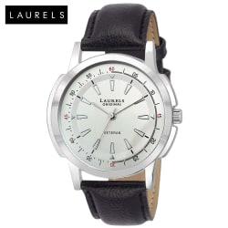 Laurels Veteran Silver Dial Men Watch (Lo-Vet-102), silver, black
