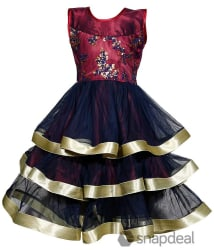 Tiny Toon Multicolour Net Frock For Girls