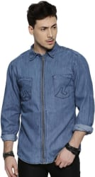 Roadster Men s Solid Casual Blue Shirt