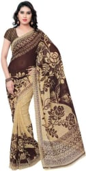 Anand Sarees Printed Daily Wear Georgette Saree (Brown)