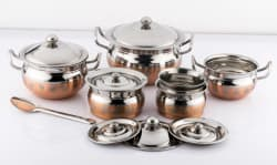 Mahavir Stainless Steel Design Copper Cook N Serve Set Cookware Set  (Stainless Steel, 7 - Piece)