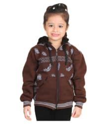 Crazies Brown Woven Light Weight Comfortable Jacket for Girls