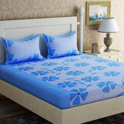 Zesture Cotton Floral Double Bedsheet  (1 Queen Bedsheet, 2 Pillow Covers, Blue)