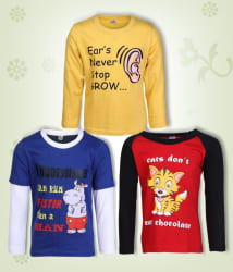 Goodway Junior Boys DYK-4- Red,Royal,Yellow Combo Pack of 3 T-Shirts For Boys