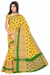 Royal Export Women s Yellow Cotton Silk Saree (gold morr)