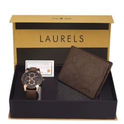 Laurels Men s Combo Pack Of Watch & Wallet (Cp-Cp-020505-Crs-09), free size