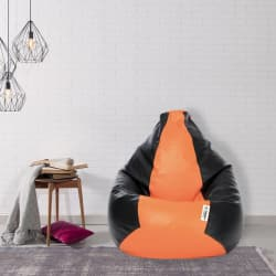 Flipkart SmartBuy XL Bean Bag Cover (Without Beans)  (Orange, Black)