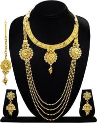 ARTS CHETAN Copper Jewel Set (White, Gold)