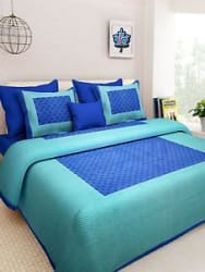Details about Cally 100% Pure Cotton King Size Double Bed Sheet with 2 Zippered Pillow Covers