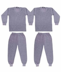 Laser X Grey Comfortable Cotton Blend Thermal Top -bottom Set- Pack Of 2