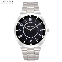 Laurels Polo 3 Analog Black Dial Men s Watch-Lo-Polo-302, silver, black