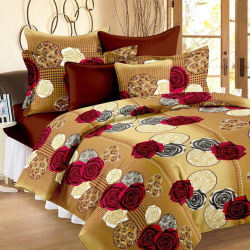 Ahmedabad Cotton Cotton Floral Double Bedsheet  (1 Double Bedsheet, 2 Pillow Covers, Brown, Red)