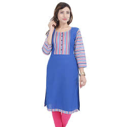 Rangeelo Rajasthan Women s Straight Kurta (RAR9036BLUE-L)