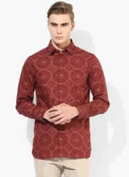 Maroon Printed Slim Fit Casual Shirt
